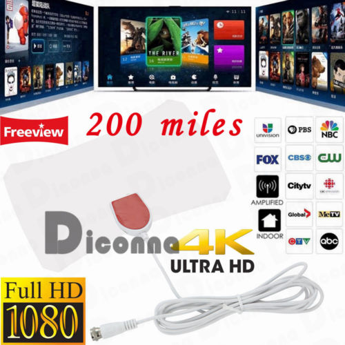 Antenna TV Digital HD 200 Mile Range 1080P 4K 10ft Coax Cable Skywire Indoor US
